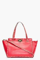 Valentino Red Studded Leather Rockstud Small Trapeze Tote - Lyst