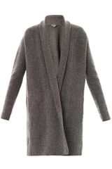 Vince Textured-knit Draped Cardigan - Lyst