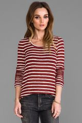 Whetherly Rib Stripe Rosewood Top in Wine - Lyst