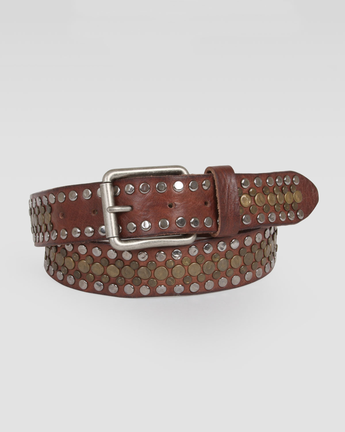 will leather goods singer studded leather belt in brown