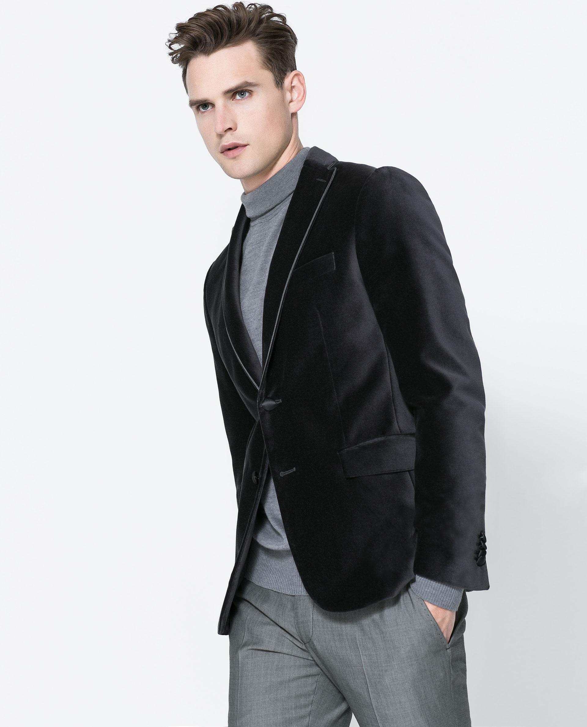 zara velvet blazer with contrast detailing in gray for men. Black Bedroom Furniture Sets. Home Design Ideas