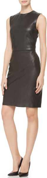 Adam Lippes Sleeveless Stretch Leather Dress Black - Lyst