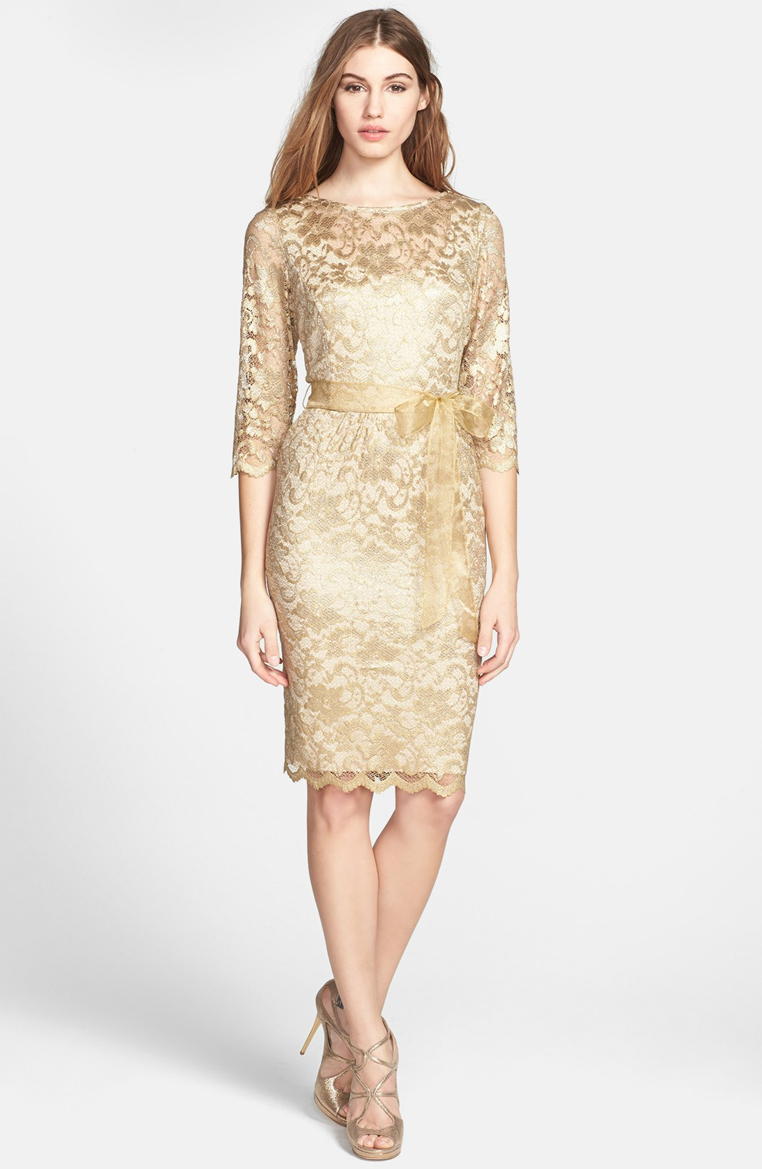 Alex evenings illusion sleeve lace dress in gold lyst for Illusion sleeve wedding dress