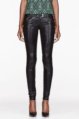 Balmain Black Coated Cotton Pants - Lyst