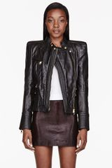 Balmain Black Leather Padded and Ribbed Jacket - Lyst