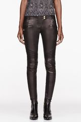 Balmain Black Leather Ribbed Leggings - Lyst