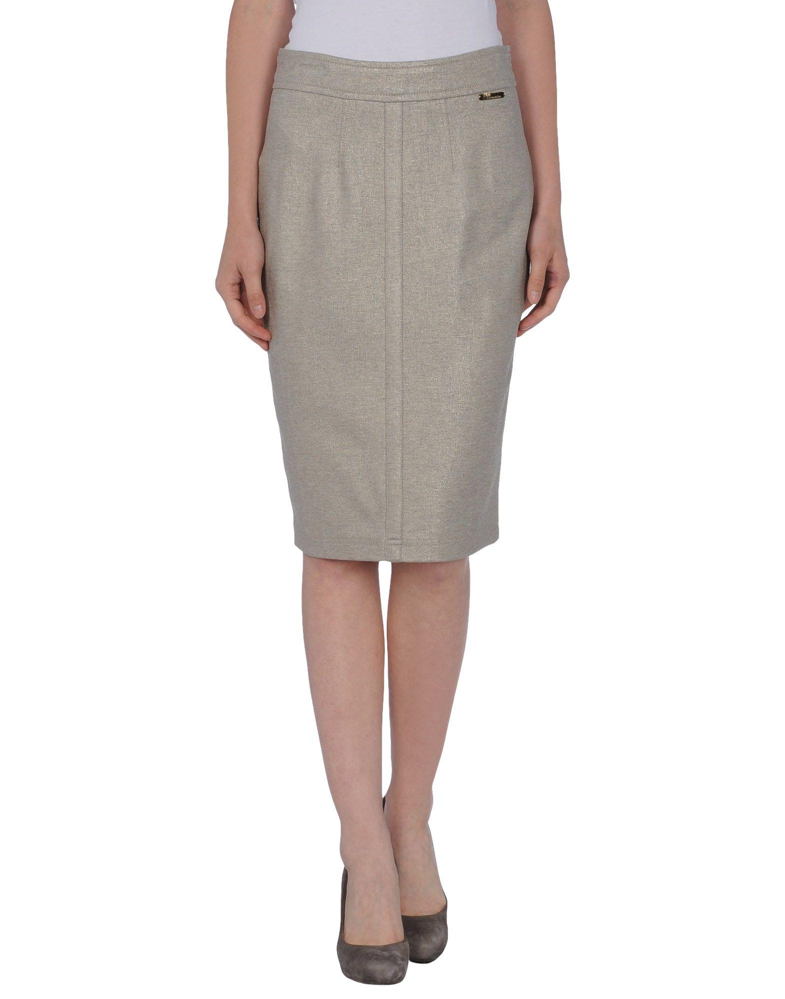 blumarine knee length skirt in gray light grey lyst