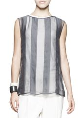 Brunello Cucinelli Sleeveless Sheer Striped Top - Lyst