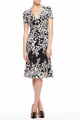 Carolina Herrera Floral Crepe De Chine Dress Blackivory - Lyst