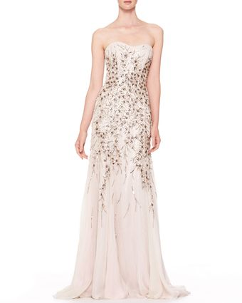 Carolina Herrera Strapless Beaded Chiffon Gown Light Gray - Lyst
