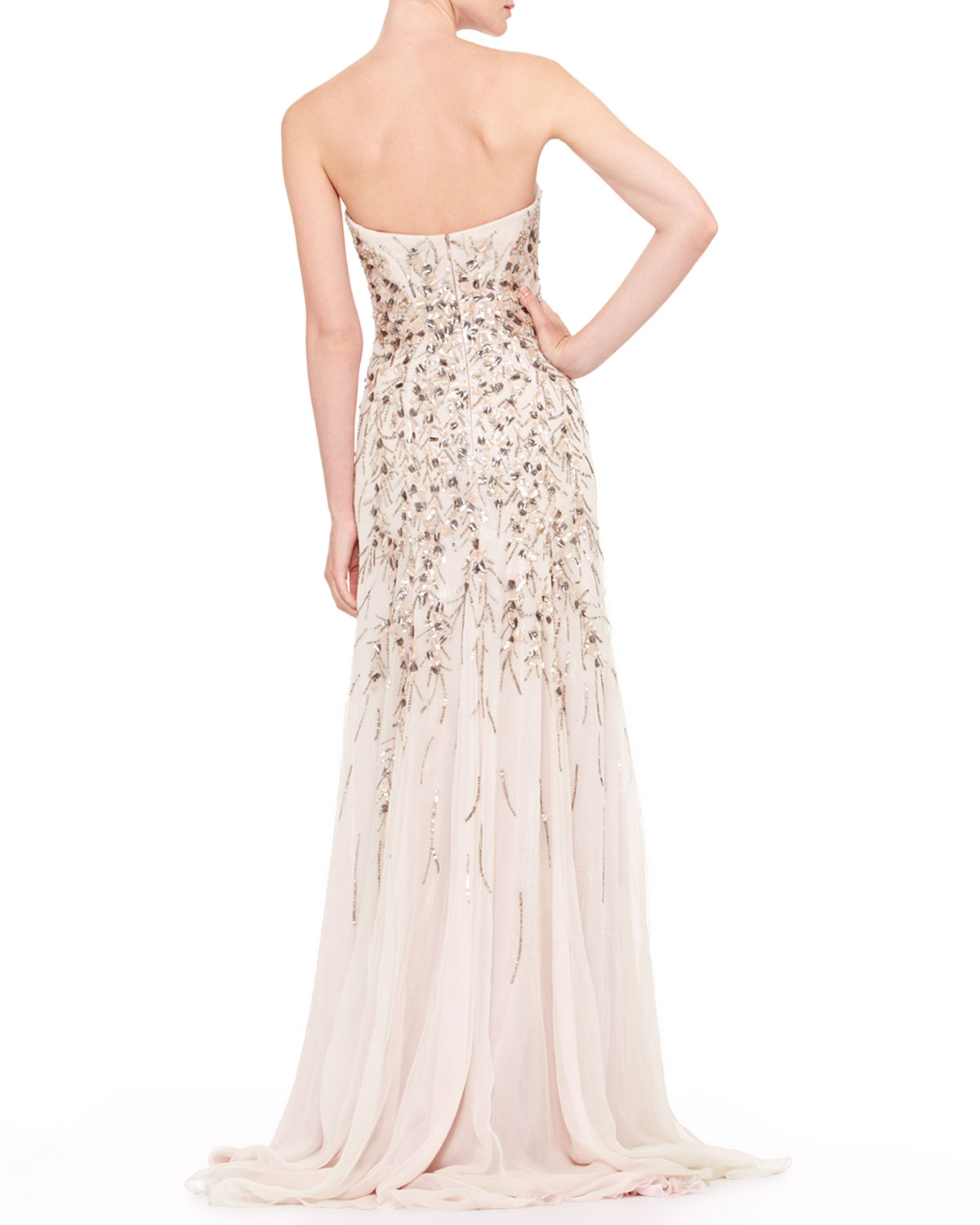 Thing moreover Carolina Herrera Strapless Beaded Chiffon Gown Light Gray Light Grey together with Thing besides Thing as well Thing. on oscar de la renta beaded earrings