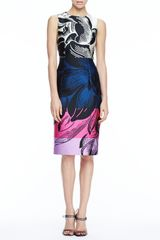 Carolina Herrera Floralprint Scuba Dress Blackmulticolor - Lyst