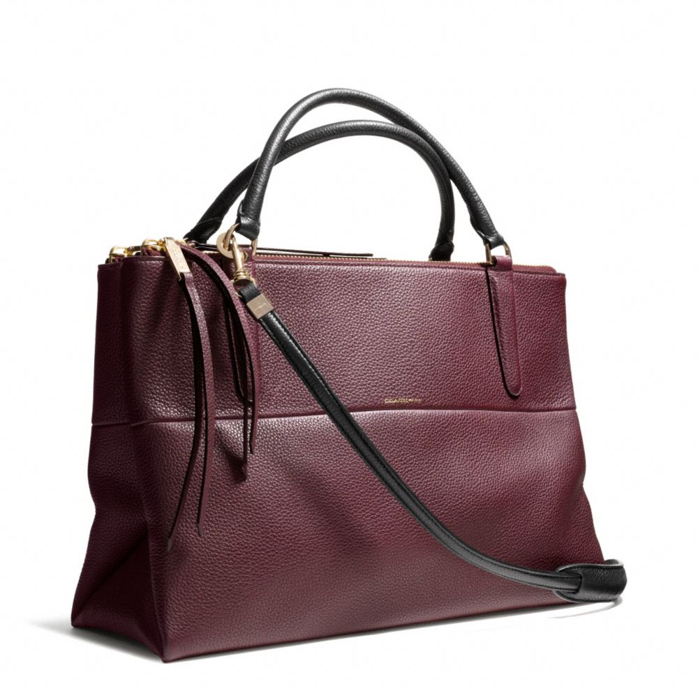 coach borough bag in pebble leather in purple gold