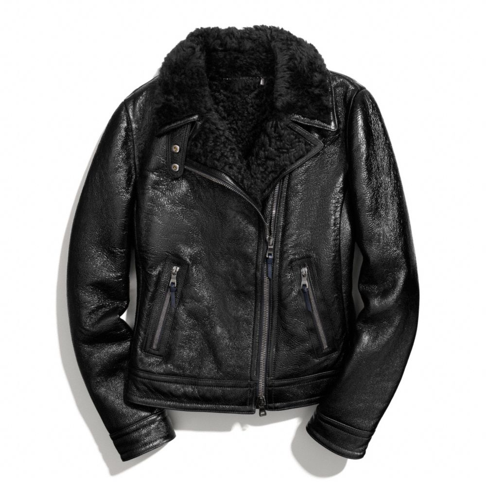 ee8c8e413c COACH Patent Shearling Moto Jacket in Black - Lyst