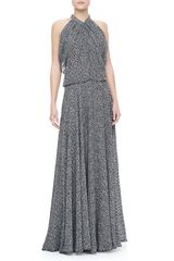 Derek Lam Gathered Silk Chiffon Gown Blackwhite - Lyst