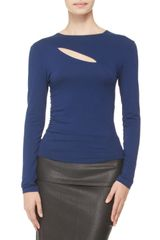 Donna Karan New York Longsleeve Slash Top - Lyst