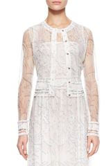 Escada Sheer Knit Lace Cardigan Whitemulti - Lyst