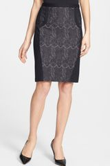 Halogen Lace Ponte Knit Pencil Skirt - Lyst