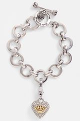 Juicy Couture Pavé Heart Charm Bracelet - Lyst