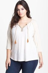 Lucky Brand Embroidered Trim Cotton Top - Lyst