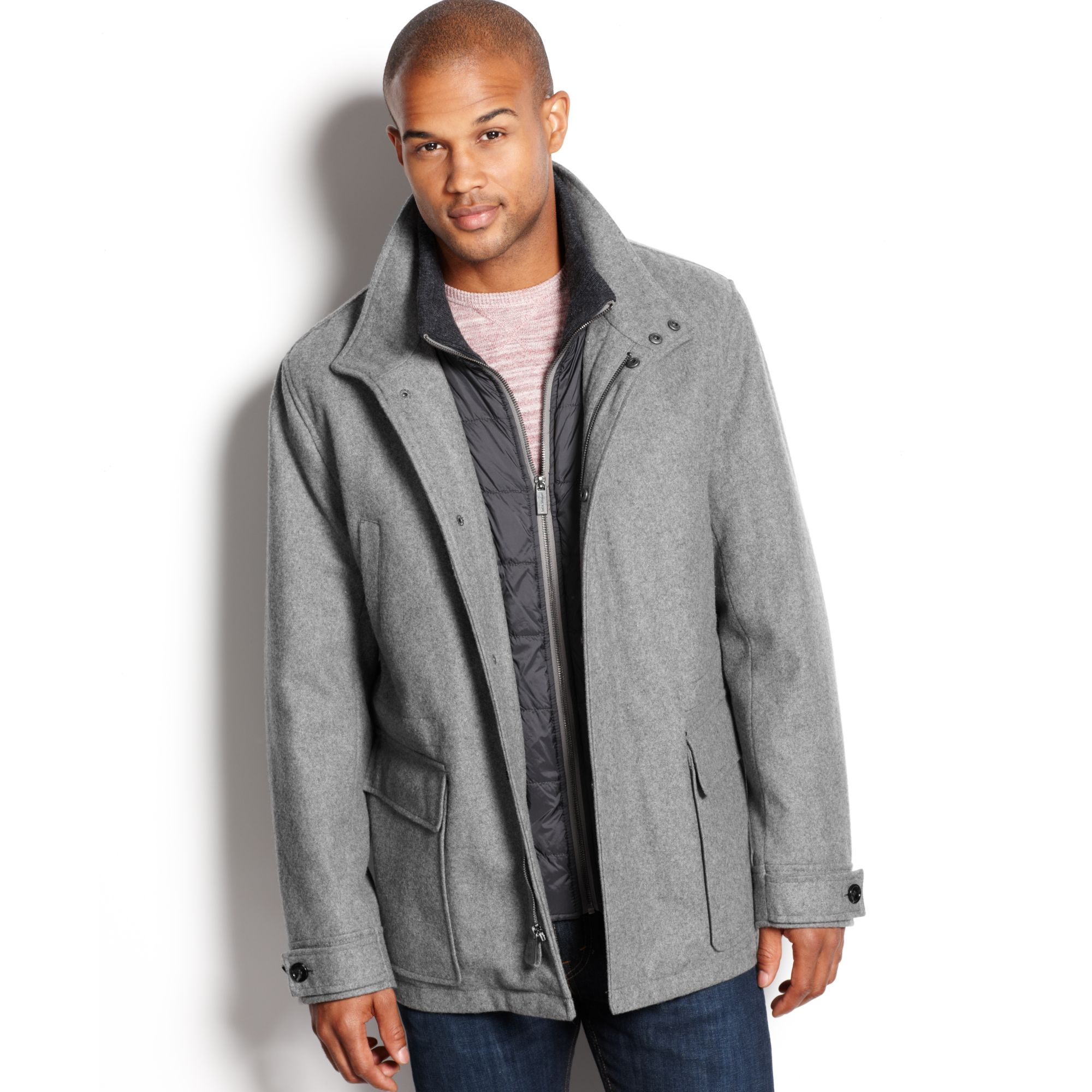 Michael kors Burleigh Bib Insert Wool Blend Car Coat in Gray for