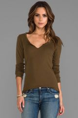 Michael Stars Long Sleeve Notched Scoop Neck in Army - Lyst