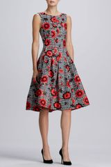 Oscar de la Renta Floralhoundstooth Cloque Dress - Lyst