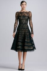 Oscar de la Renta Ribbonstriped Lace Dress Black - Lyst