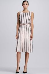 Oscar de la Renta Verticalscallop Knit Dress - Lyst