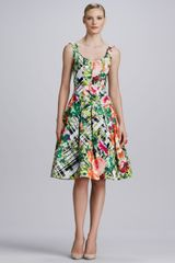 Oscar de la Renta Floral Plaid Aline Dress Greenmulticolor - Lyst