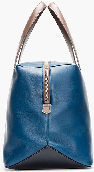 paul smith deep blue leather duffle bag in blue for men lyst