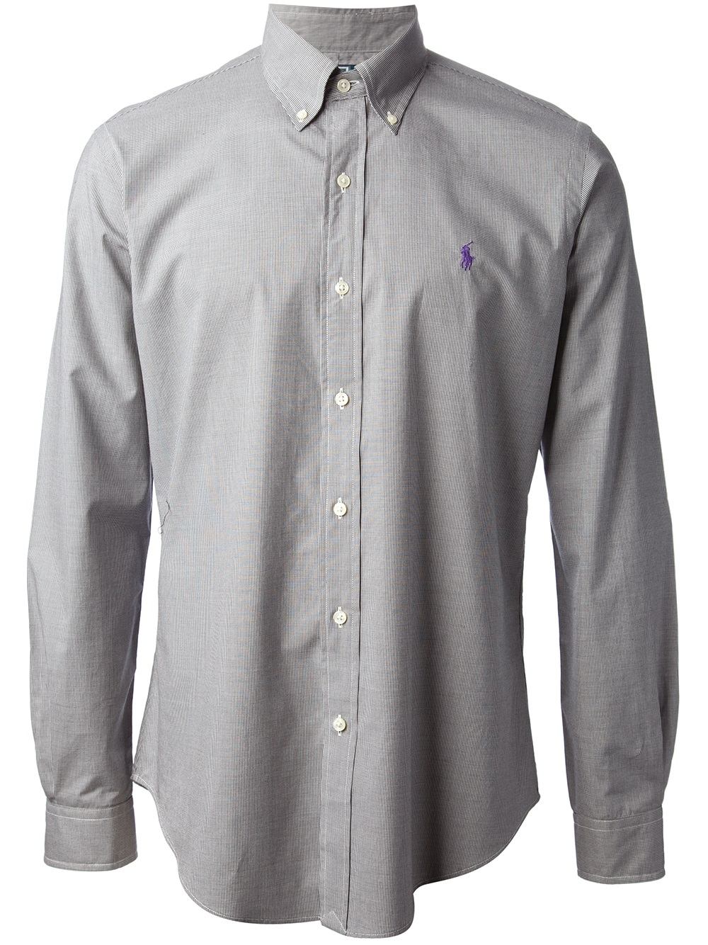 Polo ralph lauren Microcheck Button Down Shirt in Gray for Men | Lyst