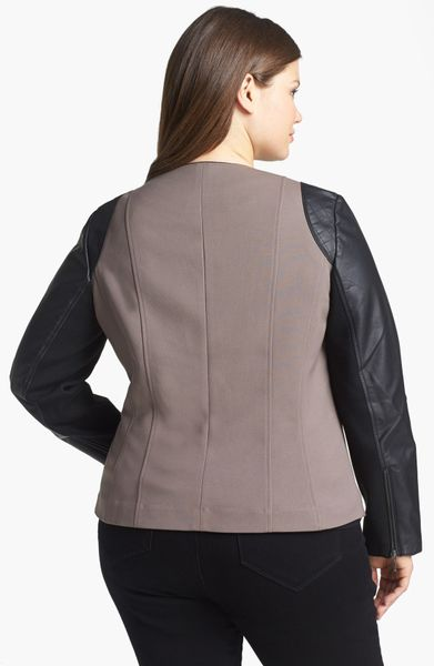 Sejour Faux Leather Twill Moto Jacket In Black Taupe