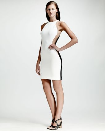 Stella McCartney Meshinset Colorblock Dress Whitenudeblack - Lyst