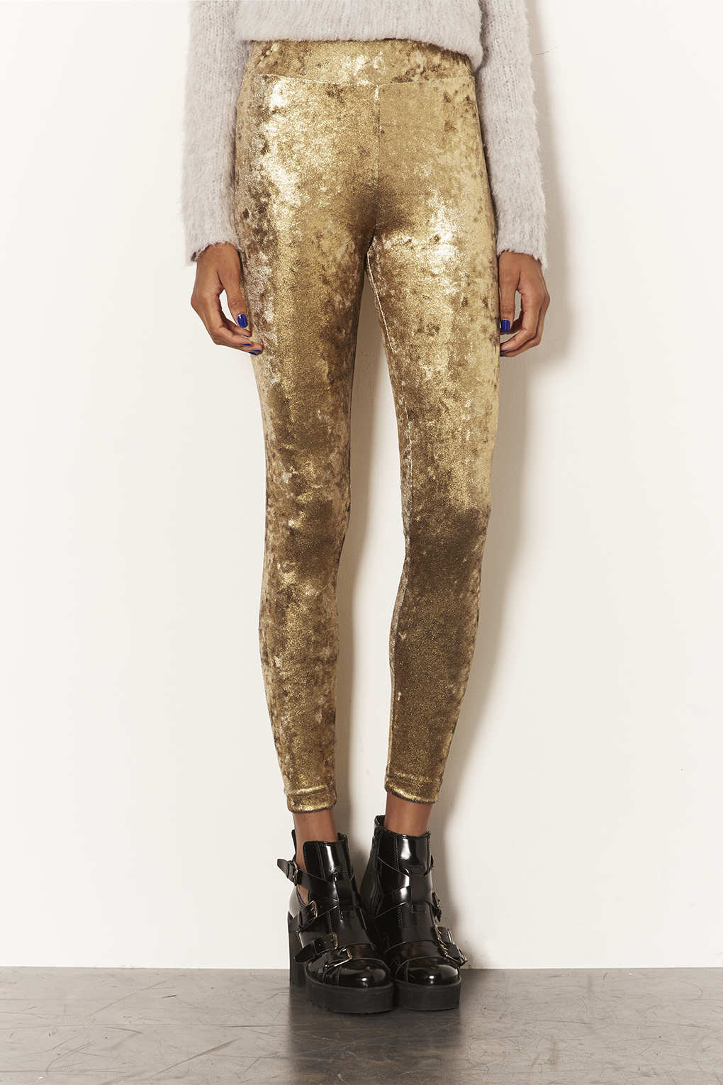 c284eda2e5a397 TOPSHOP Gold Foil Velvet Leggings in Metallic - Lyst