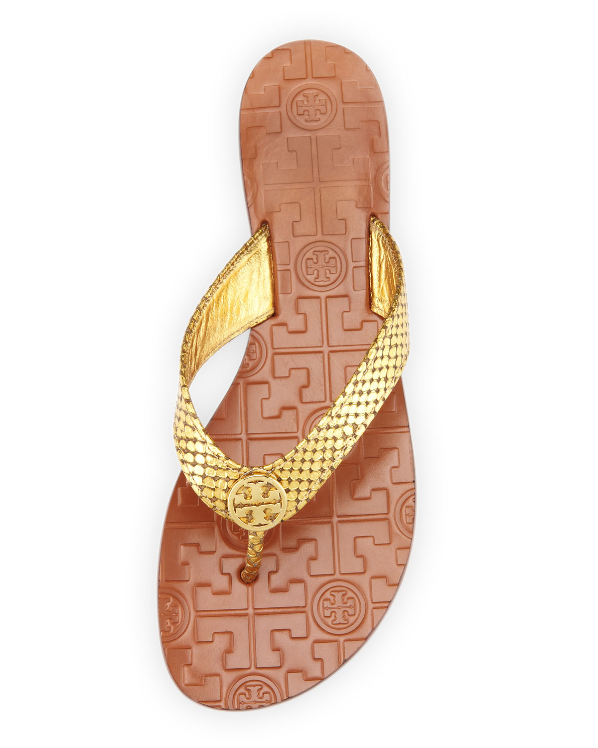 1622c7869f90 sale lyst tory burch thora logo thong sandal in metallic 07282 fd9dd