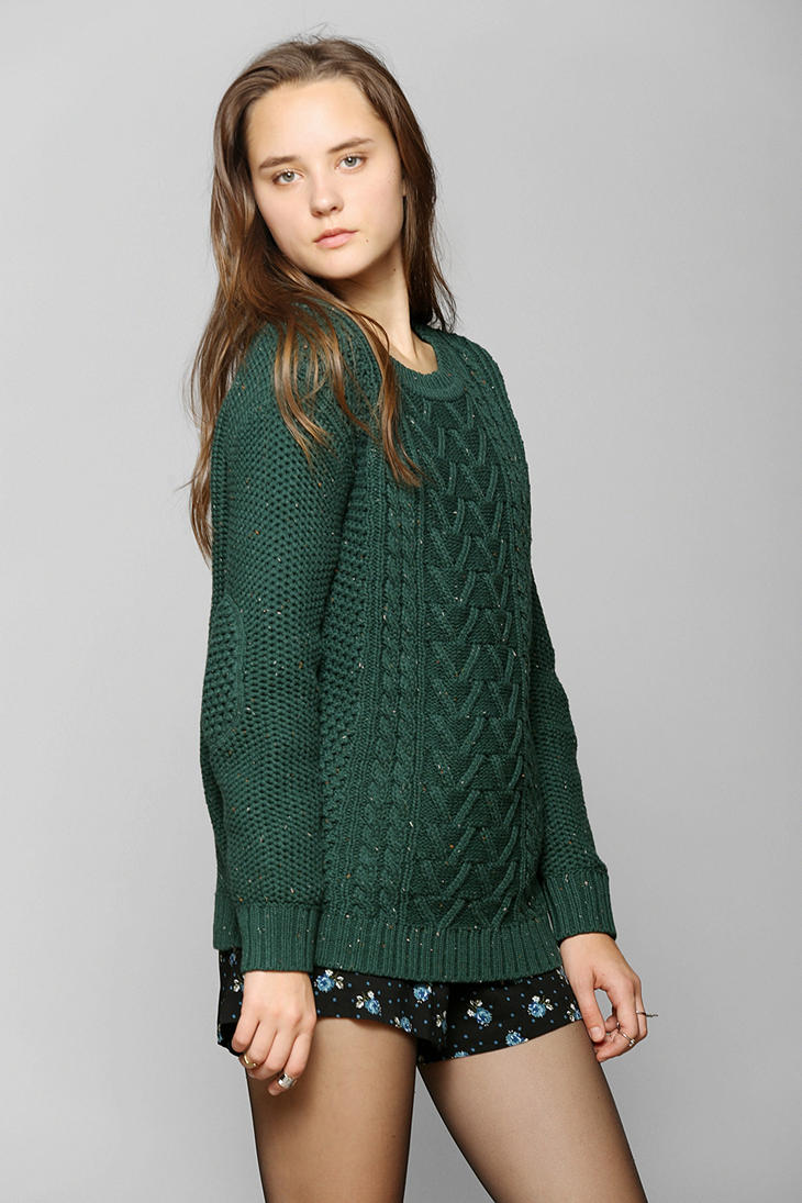 Urban outfitters Fall For Cable Knit Sweater in Green | Lyst