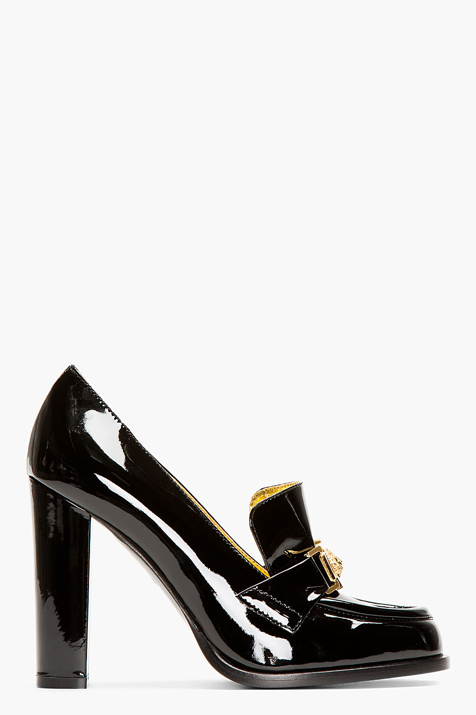 Versus Black Patent Leather Heeled Loafers in Black