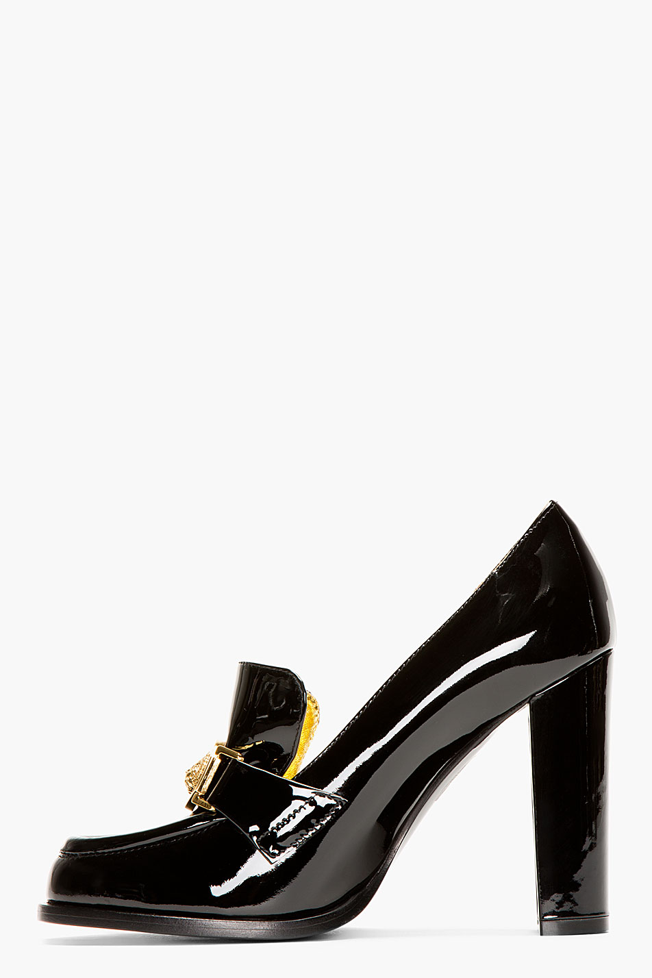 Lyst Versus Black Patent Leather Heeled Loafers In Black