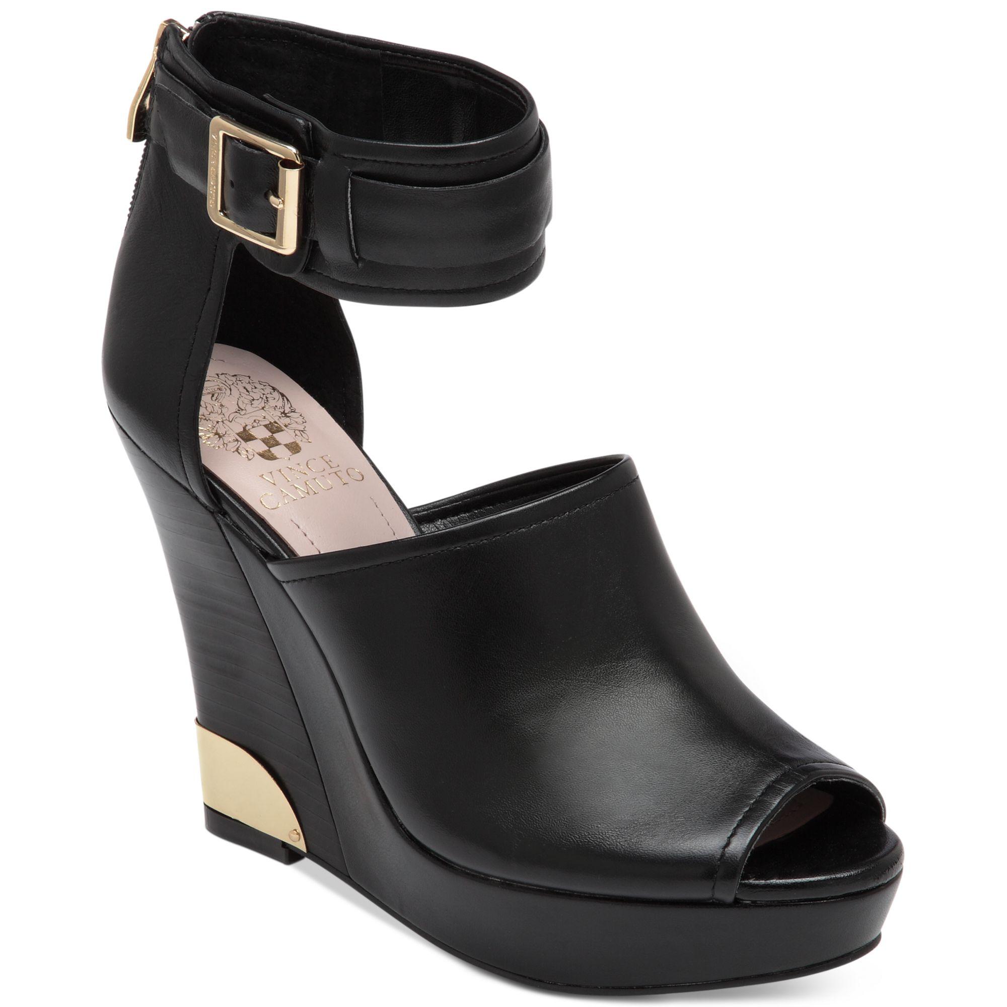 Vince Camuto Wiver Platform Wedge Sandals In Black Black