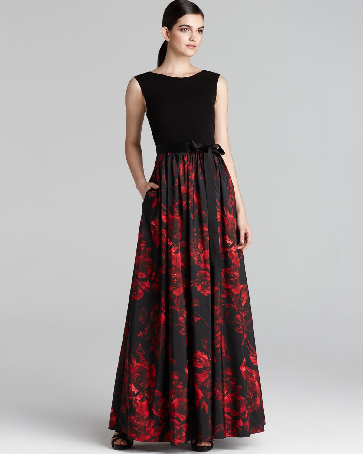 Lyst - Aidan Mattox Gown Sleeveless with Floral Printed Skirt in Black