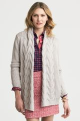 Banana Republic Chunky Cable Knit Open Cardigan Tumbled Pebble - Lyst