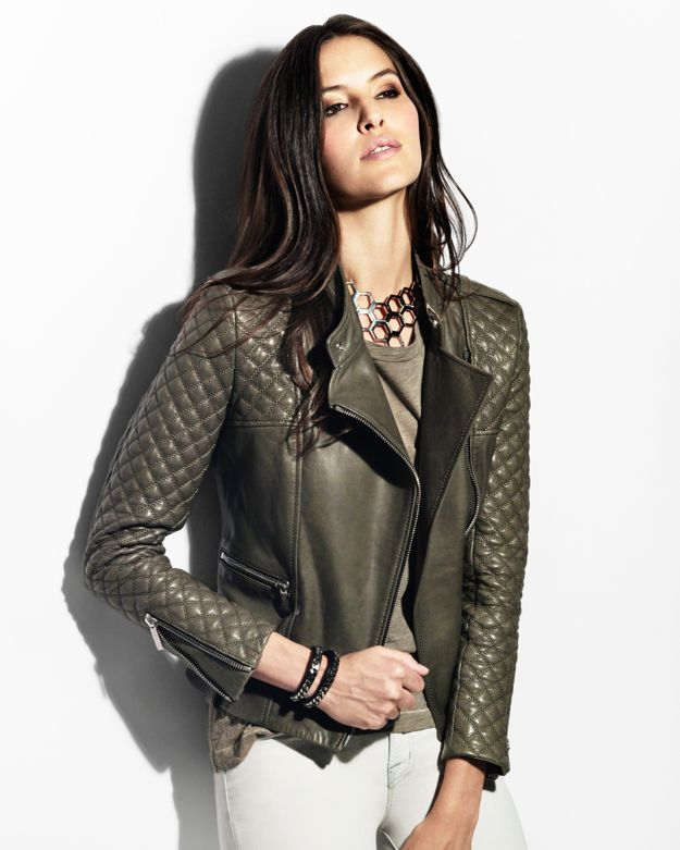Barbara bui Quilted Sleeve Leather Jacket Olive in Green | Lyst