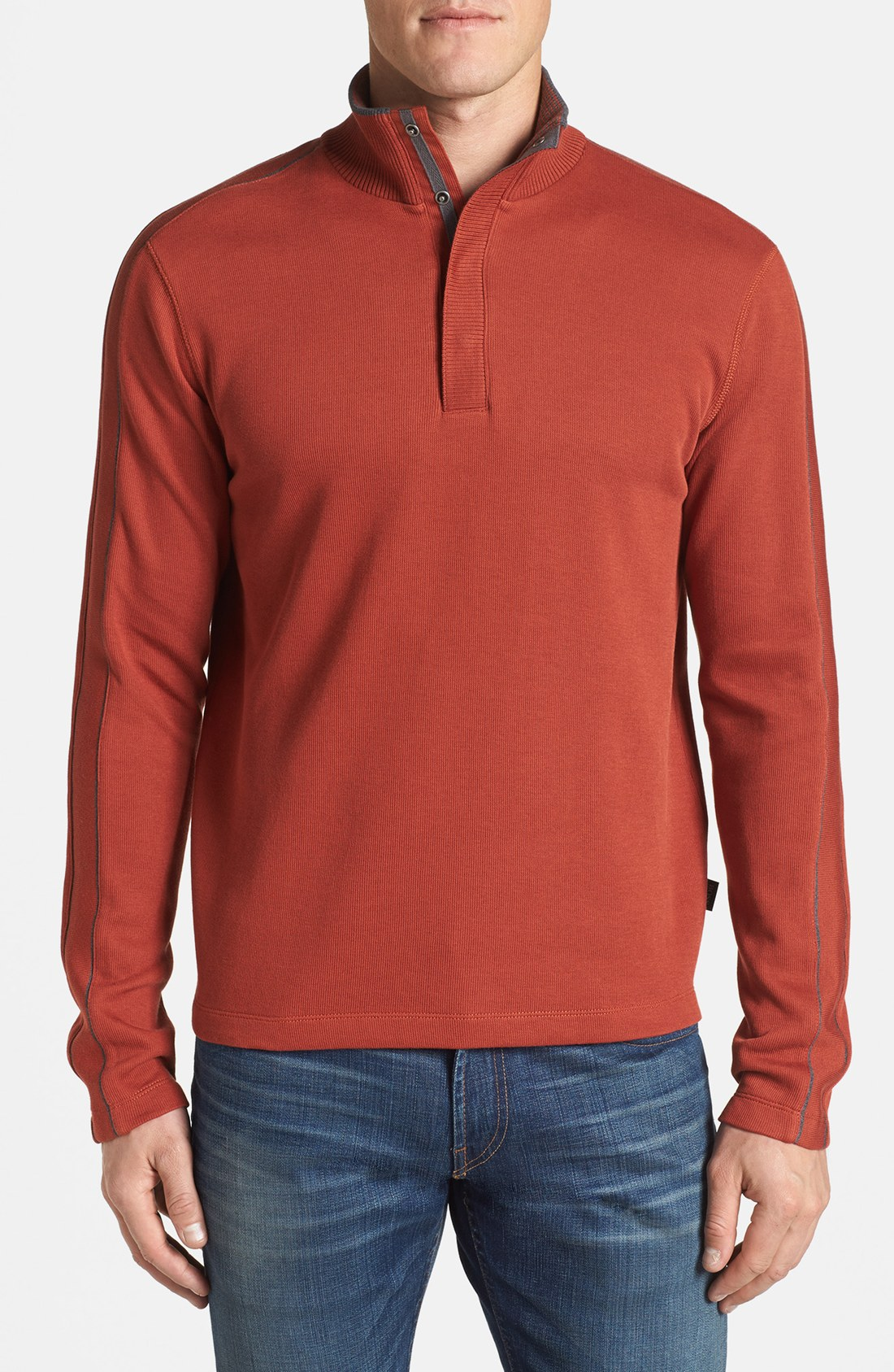 boss by hugo boss piceno regular fit long sleeve pullover in red for men burnt orange lyst. Black Bedroom Furniture Sets. Home Design Ideas