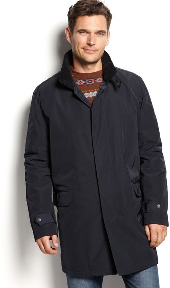 Calvin Klein Navy Hooded Raincoat - Lyst