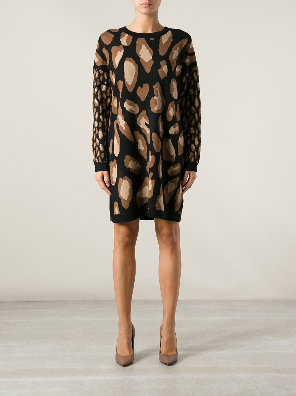 Lyst Dkny Leopard Print Dress In Black