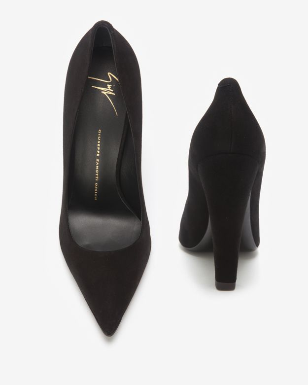 1be7ace1a90 Lyst - Giuseppe Zanotti Thick Heel Suede Pump Black in Black