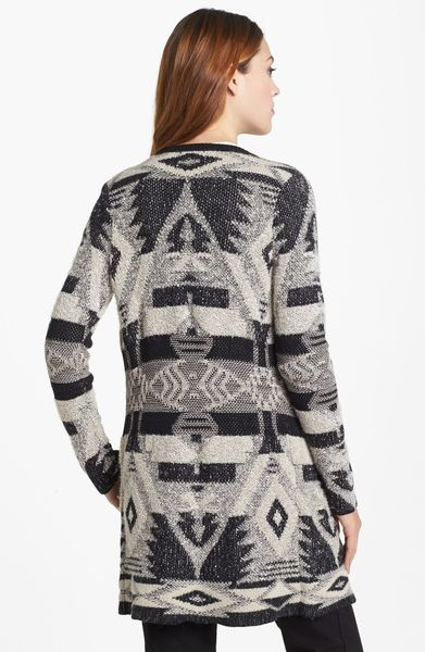Lucky Brand Tribal Pattern Cardigan In Multicolor Black
