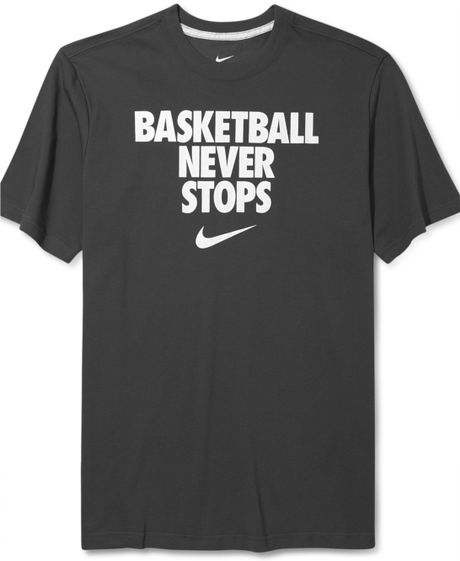Nike never stops basketball tshirt in gray for men for Basketball never stops shirt nike