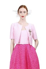 Oscar de la Renta Short Sleeve Cropped Jacket - Lyst